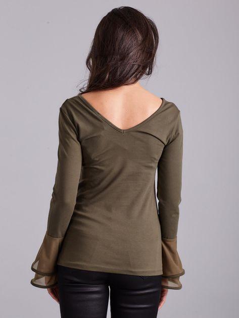 Bluzka z ozdobnymi rękawami khaki                              zdj.                              2
