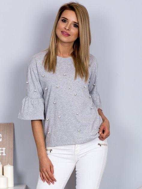 Bluzka z rozszerzanymi rękawami i perełkami jasnoszara                                  zdj.                                  1