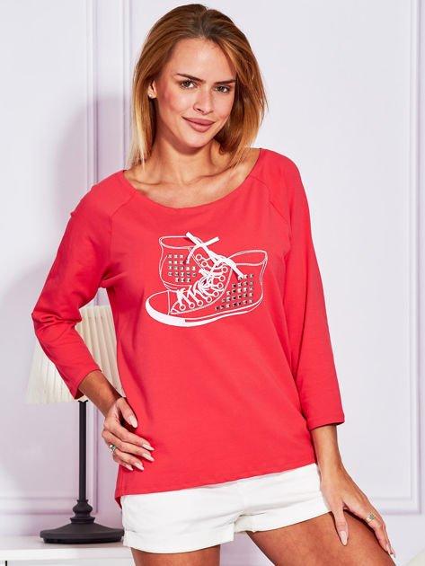 Bluzka z trampkami jasnoczerwona                              zdj.                              1