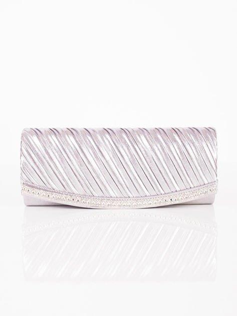 Błyszcząca elegancka kopertówka z dżetami srebrna                              zdj.                              2
