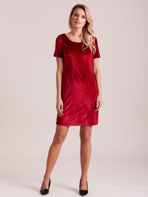 Bordowa aksamitna sukienka PLUS SIZE                              zdj.                              3