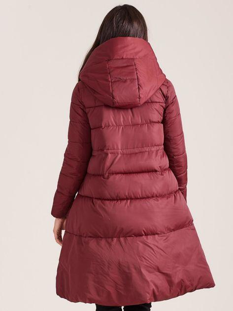 Bordowa asymetryczna kurtka zimowa                              zdj.                              2