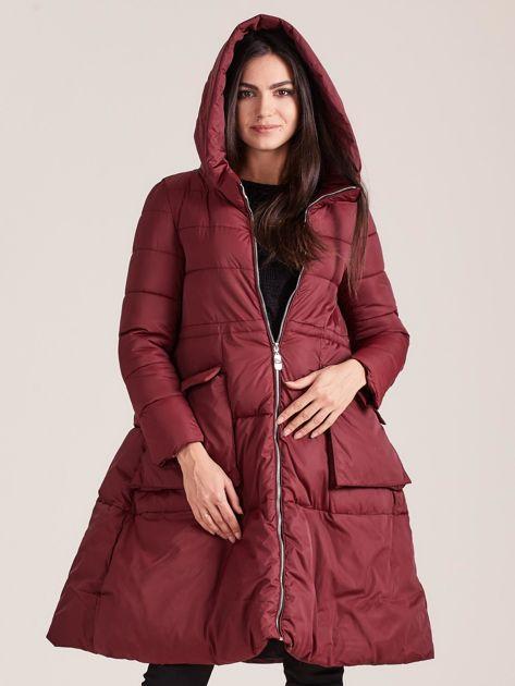 Bordowa asymetryczna kurtka zimowa                              zdj.                              5