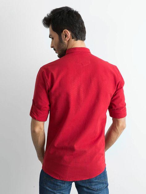 Bordowa bawełniana koszula męska                               zdj.                              2
