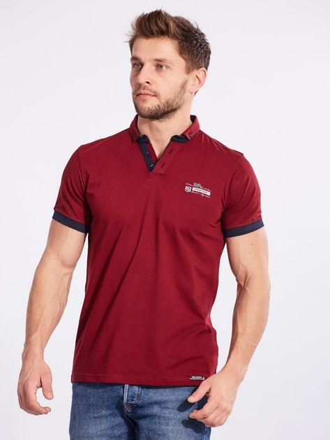 Bordowa bawełniana męska koszulka polo                              zdj.                              3