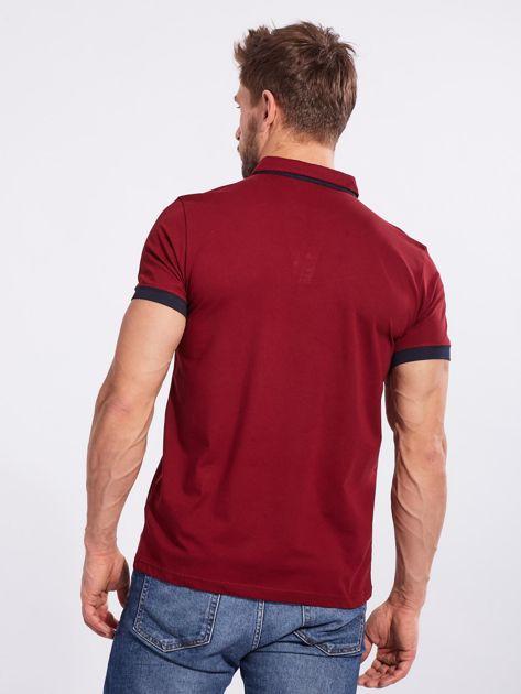 Bordowa bawełniana męska koszulka polo                              zdj.                              2