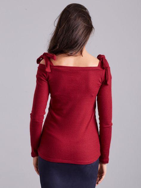 Bordowa bluzka w prążek z wiązaniami                              zdj.                              3