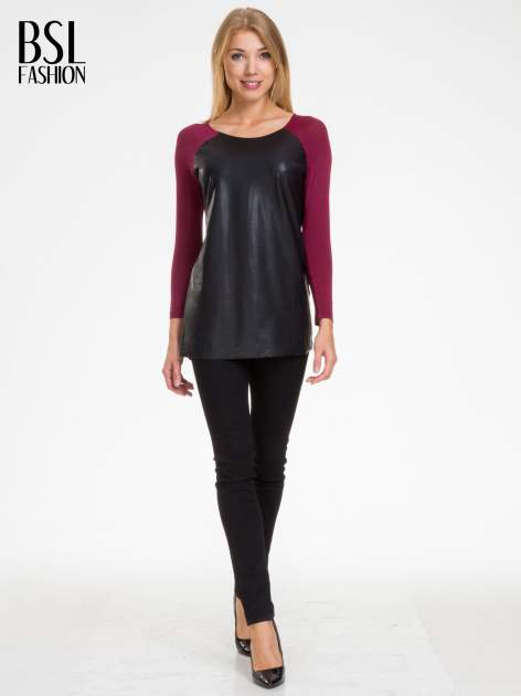 Bordowa bluzka ze skórzanym czarnym przodem                                  zdj.                                  2