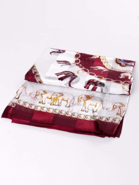 Bordowa chusta apaszka etno z nadrukiem słoni                                  zdj.                                  3