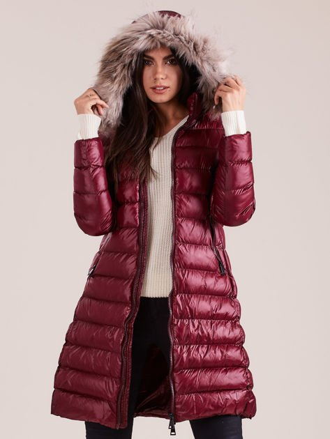 Bordowa damska kurtka zimowa                              zdj.                              6