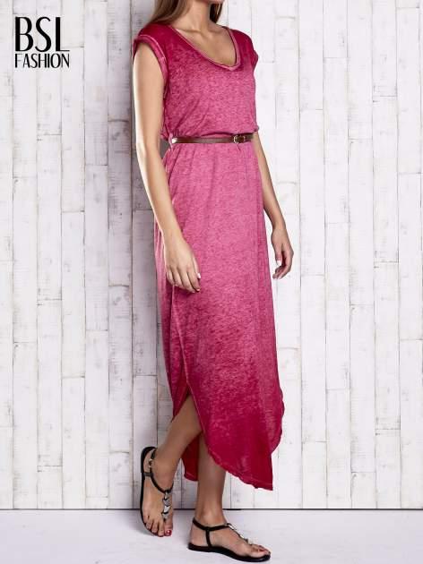 Bordowa dekatyzowana sukienka maxi                                  zdj.                                  3