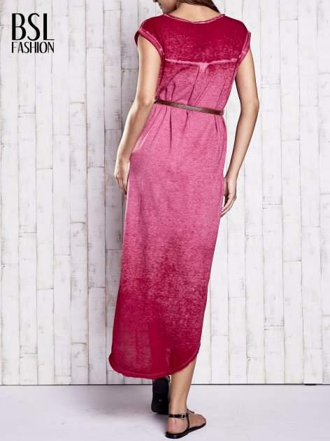 Bordowa dekatyzowana sukienka maxi                                  zdj.                                  2