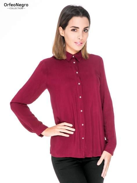 Bordowa koszula damska z zamkiem z tyłu                                  zdj.                                  1