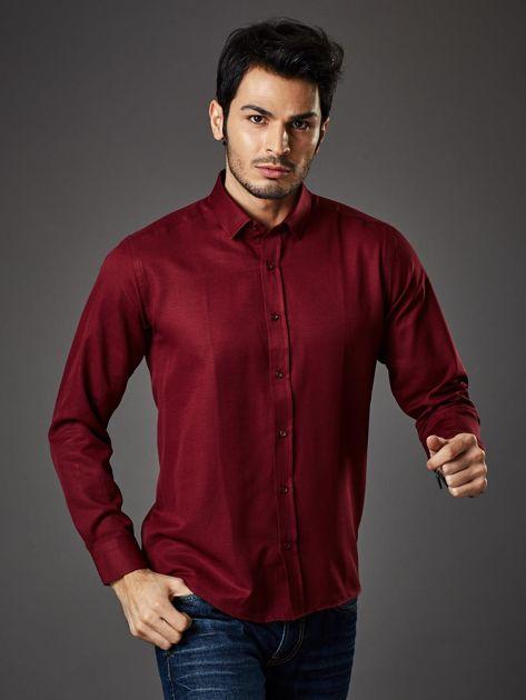 Bordowa koszula męska regular fit                              zdj.                              5
