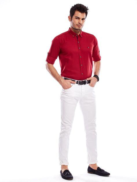 Bordowa koszula męska regular fit z podwijanymi rękawami                               zdj.                              12