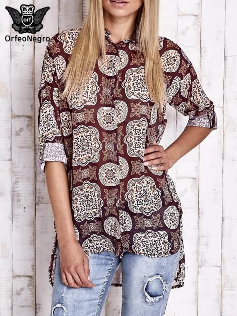 Bordowa koszula w ornamenty kwiatowe                                  zdj.                                  1
