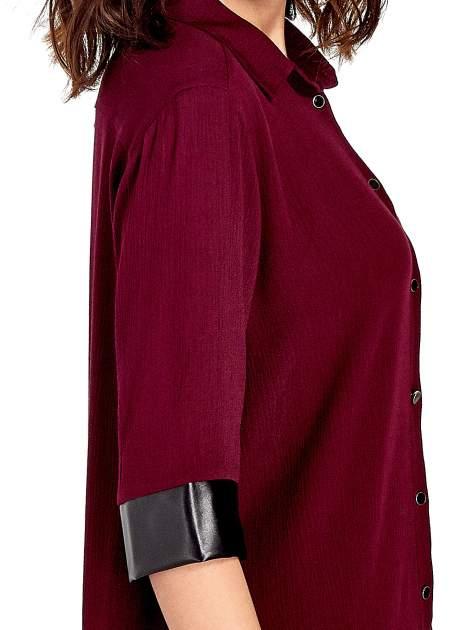 Bordowa koszula ze skórzanymi mankietami                                  zdj.                                  6