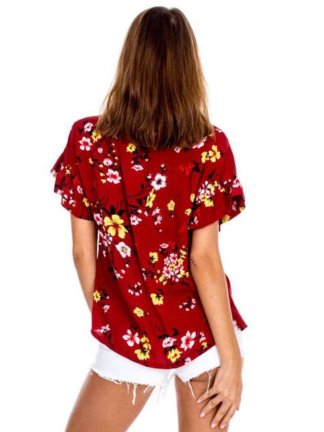 Bordowa kwiatowa bluzka z falbanami na rękawach                              zdj.                              2