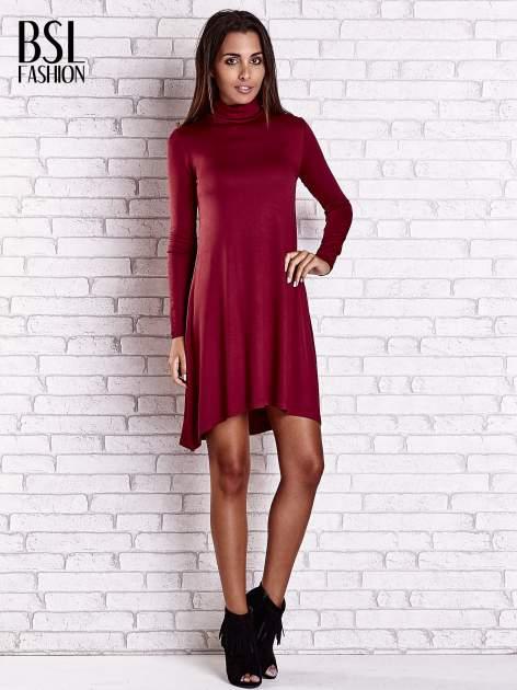 Bordowa lejąca sukienka z golfem                                  zdj.                                  4