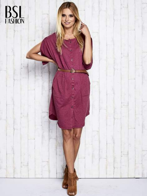 Bordowa melanżowa sukienka oversize z guzikami                                  zdj.                                  2