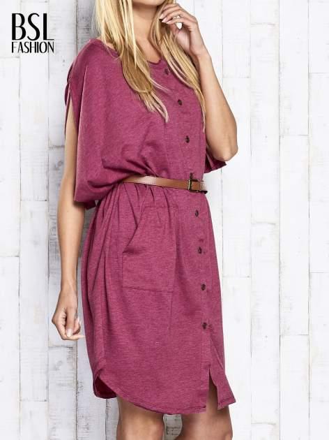 Bordowa melanżowa sukienka oversize z guzikami                                  zdj.                                  4