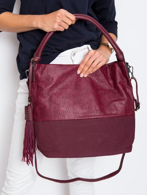 Bordowa miękka torba na ramię