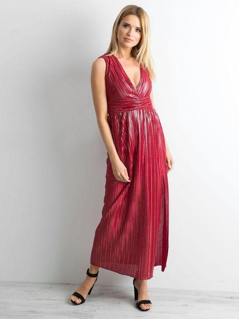 Bordowa plisowana sukienka maxi                              zdj.                              1