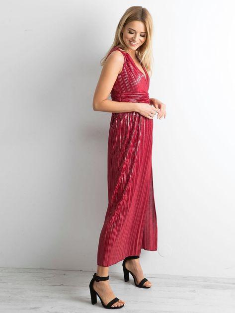 Bordowa plisowana sukienka maxi                              zdj.                              3