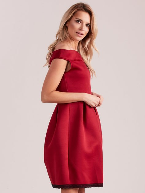 Bordowa rozkloszowana sukienka z pianki                              zdj.                              1