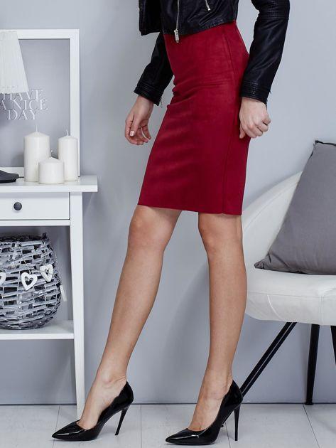 Bordowa spódnica z imitacji zamszu                                  zdj.                                  3