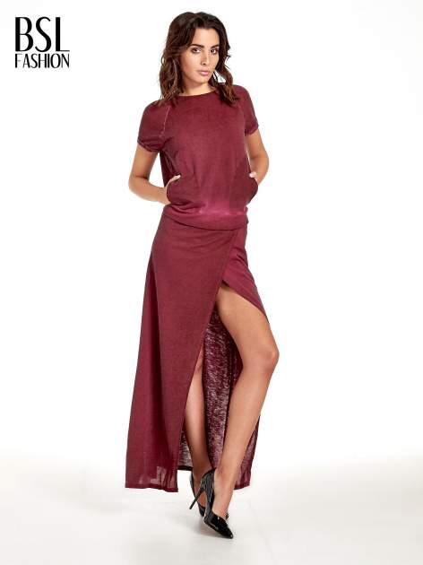 Bordowa sukienka maxi z dekoltem na plecach