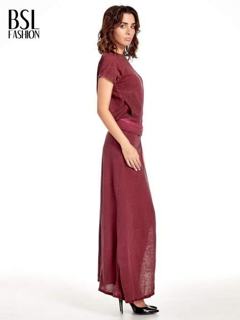 Bordowa sukienka maxi z dekoltem na plecach                                  zdj.                                  3