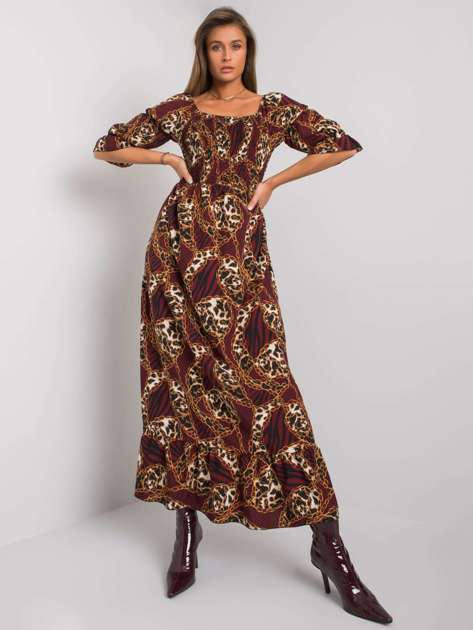 Bordowa sukienka maxi z falbaną Adley