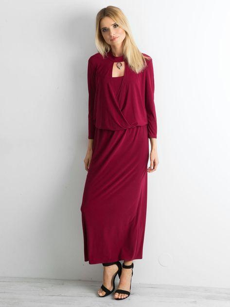 Bordowa sukienka maxi z wycięciem                              zdj.                              4