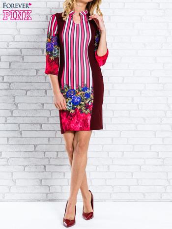 Bordowa sukienka w kwiaty w orientalnym stylu                                  zdj.                                  4