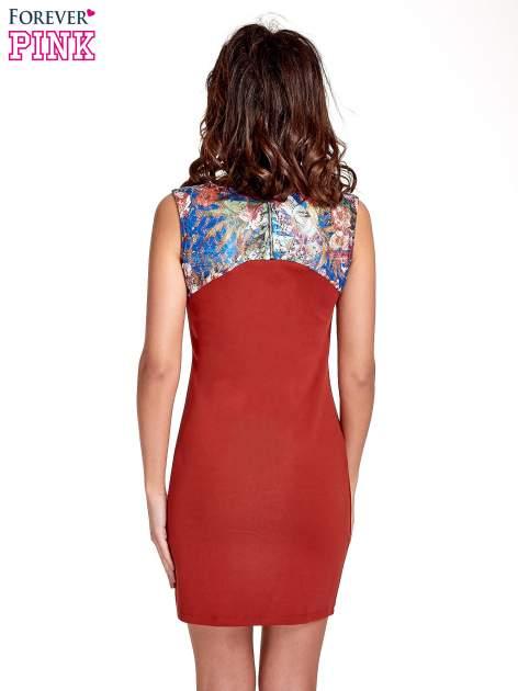 Bordowa sukienka z kwiatową koronką                                  zdj.                                  2
