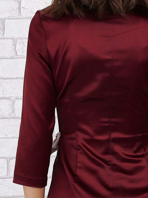 Bordowa sukienka ze srebrną kokardą                                   zdj.                                  7