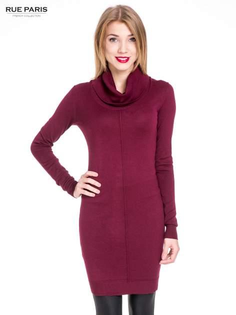 Bordowa swetrowa sukienka z golfem                                  zdj.                                  1