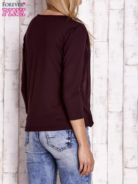 Bordowa warstwowa bluzka z rękawem 3/4                                  zdj.                                  4