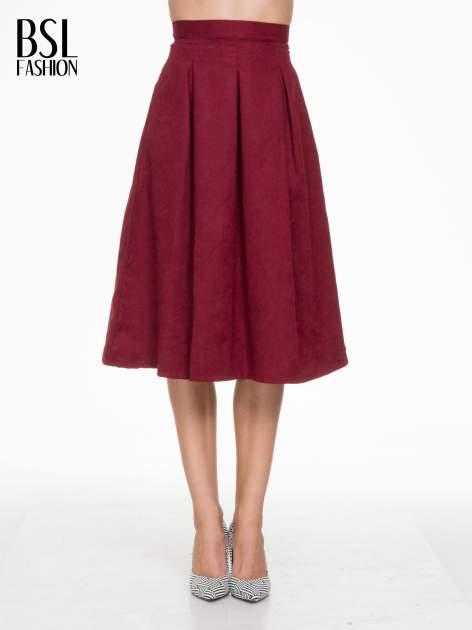 Bordowa zamszowa spódnica midi z kontrafałdami                                  zdj.                                  1