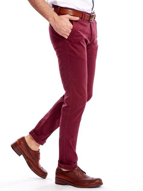 Bordowe bawełniane spodnie męskie chinosy                                   zdj.                                  6