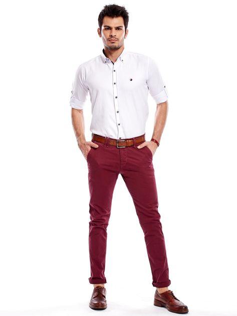 Bordowe bawełniane spodnie męskie chinosy                                   zdj.                                  5