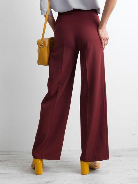 Bordowe damskie szerokie spodnie                              zdj.                              2