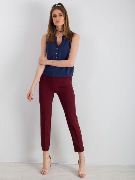 Bordowe klasyczne spodnie                              zdj.                              4