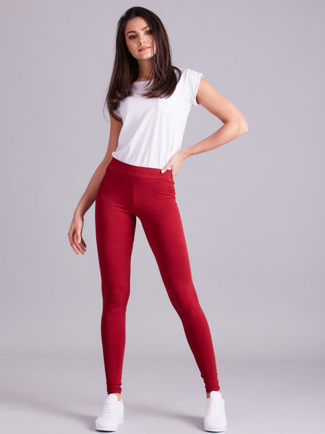 Bordowe legginsy Basic                              zdj.                              4