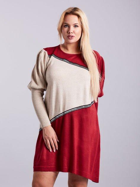 Bordowo-beżowa sukienka dzianinowa PLUS SIZE                              zdj.                              1