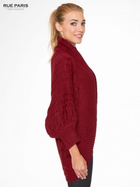 Bordowy dziergany sweter typu otwarty kardigan                                  zdj.                                  3