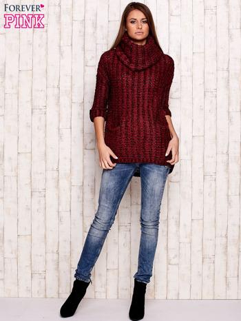 Bordowy melanżowy sweter z szerokim golfem i kieszeniami                                   zdj.                                  2