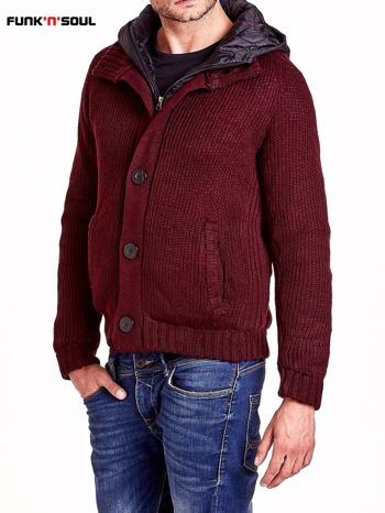 Bordowy sweter męski z podszewką i kapturem FUNK N SOUL                                  zdj.                                  4
