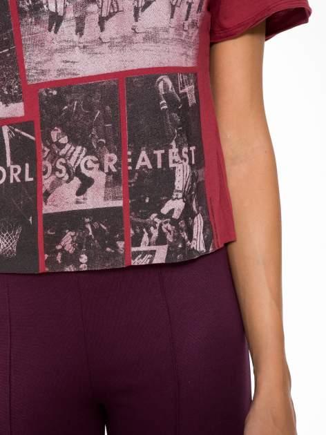 Bordowy t-shirt cropped z nadrukiem basketball                                  zdj.                                  7